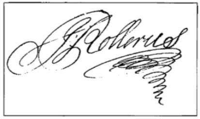 Handtekening van Johannes Rollerus, schout van 1705 tot 1729.