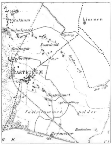 Dit kaartje uit 1865 geeft een idee van het in die tijd kleinschalige karakter van Castricum.