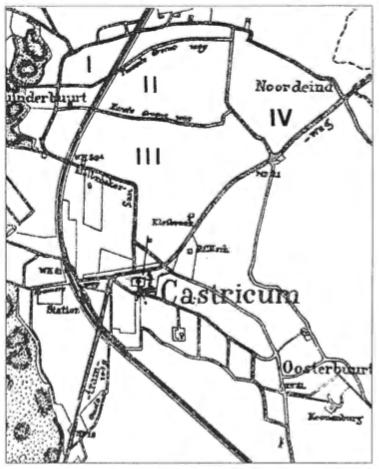 Kaartje van Castricum van omstreeks de eeuwwisseling met hierop aangegeven de sectoren I t/m IV.