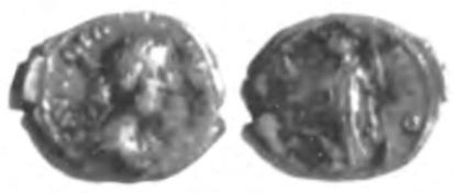 Een denarius uit de periode van Faustina II, geslagen in Rome tussen 161 tot 175. De munt werd in 1989 gevonden in de Oosterbuurt.