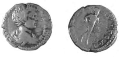 Een zilveren denarius van Caracalla.