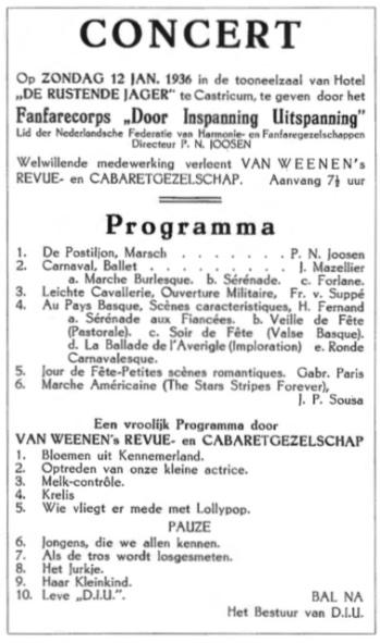 Een programma over een optreden in 1936 in De Rustende Jager.