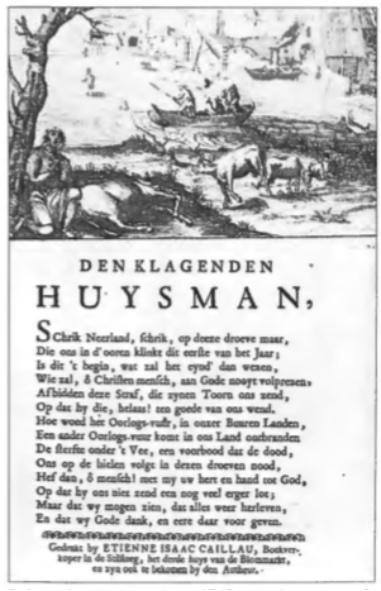 Belerende rijmprent uit ca. 1745 verschenen ter gelegenheid van het nieuwe jaar waarin de runderpest wordt gezien als een straf van God.