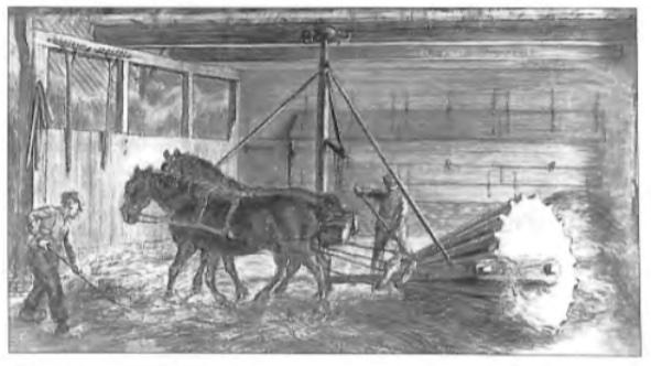 Voorbeeld van nieuwe arbeidsbesparende methoden, zoals die in de loop der 18e eeuw in de landbouw werden ingevoerd. De tekening toont een door paarden voortgetrokken dorsrol. Onder de opgebonden staarten droegen de geblindeerde paarden een ⣵skytbak'. Uitvindingen als de dorsrol maakten een belangrijke besparing op de arbeidskosten mogelijk, maar droegen tevens bij aan een toename der werkeloosheid onder de landarbeiders .
