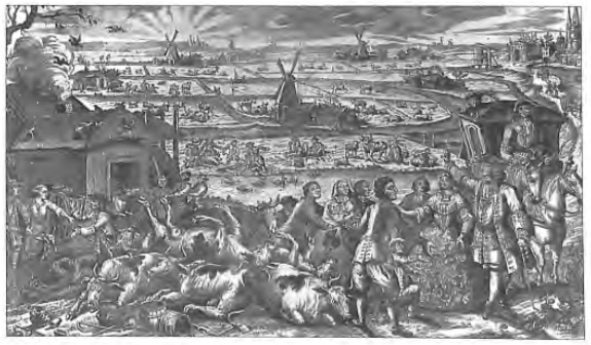 Een zinnenprent uit 1745 naar aanleiding van de tweede golf van de runderpest, die de boeren in ons land vanaf 1744 teisterde en die ook in Castricum en Bakkum toesloeg.