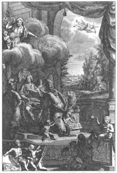 Naar aanleiding van het uitroepen van Willem IV tot stadhouder in 1747 verscheen deze zinnenprent. Zeker de boerenbevolking had grote verwachtingen van deze stadhouder, wat in de tekening tot uitdrukking is gebracht. Gezeten op zijn troon ziet de stadhouder op naar de hemel, waaruit de Vrede neerdaalt. Wat betreft de problemen, die Willem IV geacht werd op te lossen toont de prent linksonder twee personen, de één met een afbeelding van overstromingen, die de boeren teisterden en de ander met een met wormen doorboorde paal. Op een steen, met een tekening van de plundering der pachtershuizen, zit de 'dwaasheid van de handel, leunende op schijn, list en bedrog'. Midden onder is de sterfte door de runderpest afgebeeld.