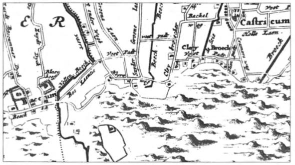 Fragment van de Kaart van 't Hoogh-Heemraetschap van de Uytwaterende Sluysen in Kennemerlandt en West- Vrieslandt', getekend door Johannes Dou.
