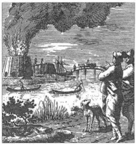 Prent van Jan Luyken met schelpkalkovens uit 'Het overvloeijende Herte' uit 1767.