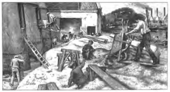 Een schoolplaat van de bekende Jetses met daarop getekend alle werkzaamheden rond de kalkovens.