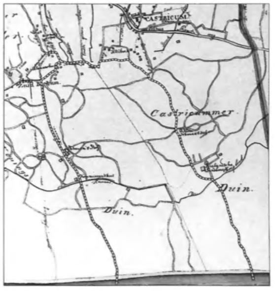 Een fragment van een kaart uit 1844. Aan de onderzijde de Noordzee. Op dit kaartje zijn met streepjes de twee schelpenroutes vanaf het strand naar het Schulpstet aangegeven. De route vanaf Bakkum aan Zee liep langs het commissarishuis en vanaf Castricum aan Zee langs De Brabantse Landbouw.