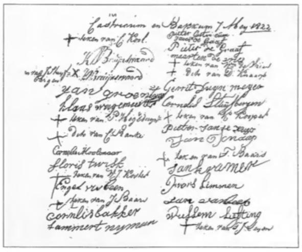 Ondertekening door de schelpenvissers van hun verzoekschrift aan de Gouverneur van de provincie Noord-Holland in het jaar 1822. Velen konden niet schrijven en tekenden met een kruis.