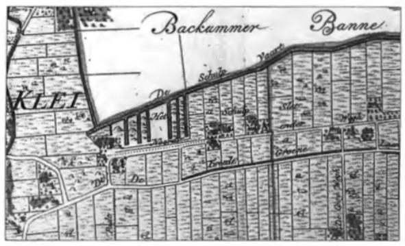 Het Schulpstet en de Schulpvaart met een zestal haventjes waar tussen de schelpenhopen zijn weergegeven op de kaart van 'De Heerlykhyd van Castricum' uit 1737.