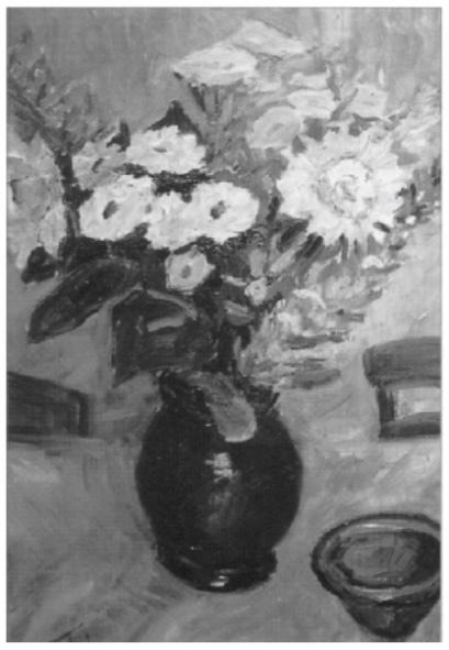 Eén van haar vele stillevens van een vaas bloemen.