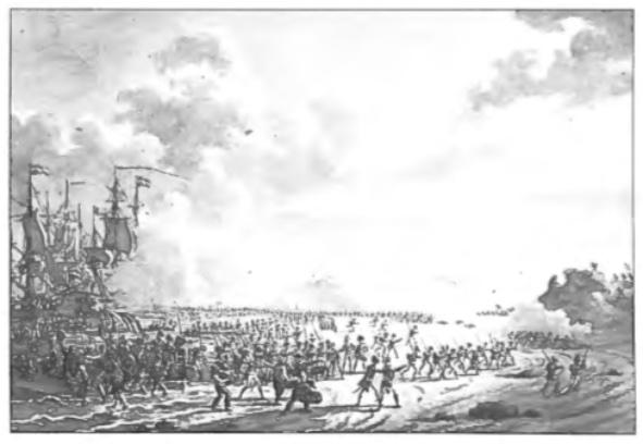 De landing van de Engelsen op 27 augustus 1799 op het strand te Groote Keeten bij Callantsoog.