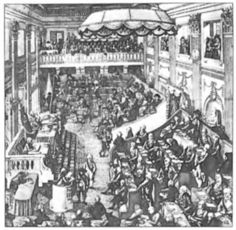 De Nationale Vergadering in 1797 bijeen in Den Haag.