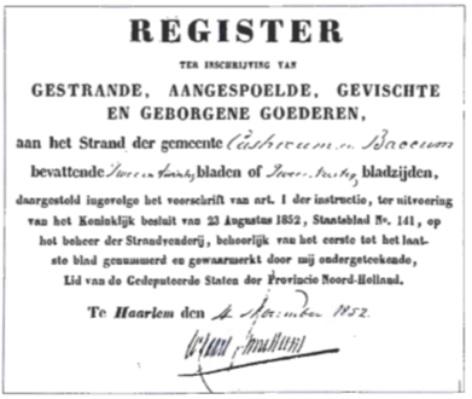 Het voorblad van het register van 1852.
