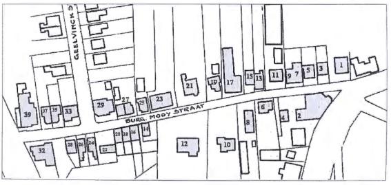 Plattegrond van de Burg. Mooijstraat, ca. 1935. De toenmalige nummering van de huizen is aangegeven.