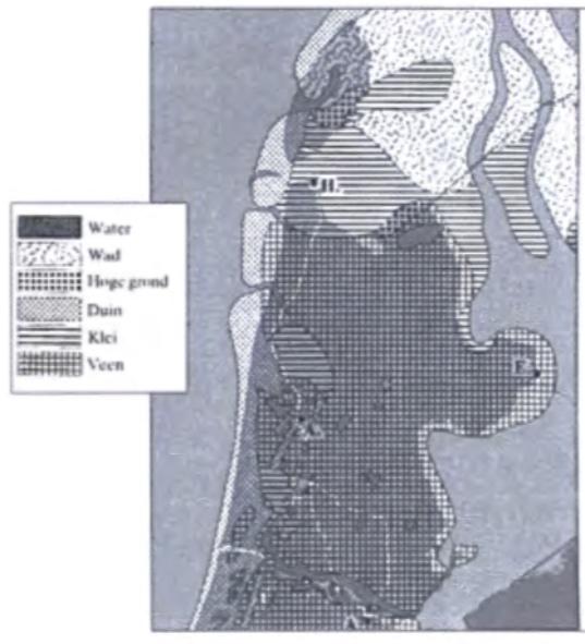 Noord-Holland omstreeks 600 na Chr. Na een periode van betrekkelijke rust kwam een proces van kusterosie op gang die vooral de Noordkop zou treffen. (Zagwijn 1986)
