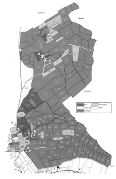 Bakkum in 1830. Als het kadasternummer op het perceel weiland of bouwland is getekend dan is hiervan een veldnaam in oude akten aangetroffen en in het artikel vermeld. De omcirkelde nummers zijn de in de tekst genoemde huisnummers.