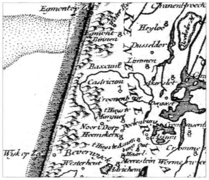 'Baccum' op de kaart van Noord-Holland (kaartfragment omstreeks 1748 getekend door Robert Celles).