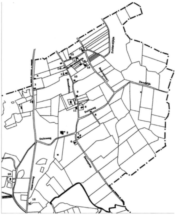 Kaart 2: Noord-Bakkum: de huizen die genummerd zijn, bestaan in 1930; onder de volgnummers 1 t/m 17 worden de bijbehorende huizen en bewoners in de tekst beschreven. (tekening Jort Boot)
