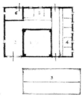 Plattegrond van de onvolledige stolp. 1. hooiberging, 2. dars of deel, 3. wonen, 4. lange regel, 5. korte regel, 6.paard