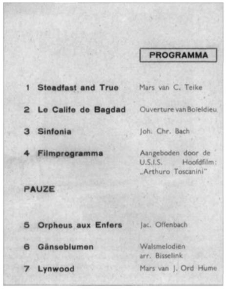Programma voor het jubileumconcert ter gelegenheid van het 30-jarig bestaan van Aloysius.