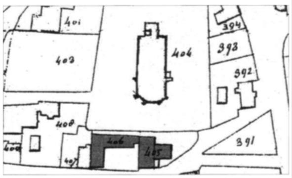 De situatie van de panden aan de Schoolstraat in 1822.