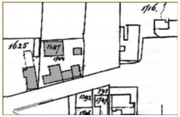 Gedeelte van een kadasterkaart uit 1891. Van het pand van Klaas Bakker (nr 1625) lijkt een gedeelte vervallen, hoewel het nog gestippeld is aangegeven. Waarschijnlijk het gevolg van de ontmanteling van het fabrieksgedeelte. Perceel 1744 van Otto Kehl toont verbouw en bijbouw ten opzichte van de situatie in 1882.