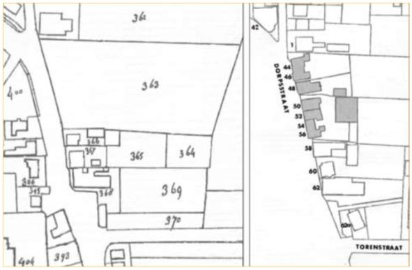 Gedeelte van kadasterkaarten uit 1822 (links) en 1963 (rechts) met ingekleurd de panden, die in dit artikel worden besproken.