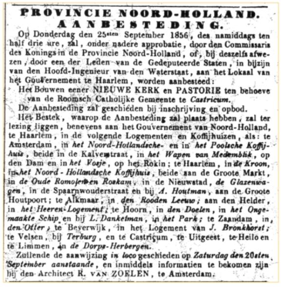 Aankondiging van de aanbesteding in de Haarlemsche Courant van 13 september 1856.