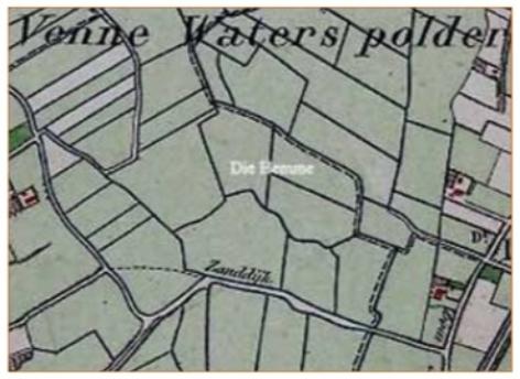 Kaartje uit 1879 met de omgeving van de Zanddijk met De Hemme.