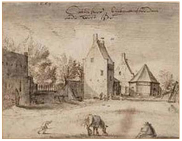 Gezicht op de overblijfselen van het Karthuizerklooster Sint-Andries-ter-Zaliger-Haven. Van links naar rechts is zichtbaar de westelijke buitenmuur van het voormalige kloosterhof, twee tegen de buitenkant van de muur gebouwde kloostercellen, de zeskantige rosmolen van het klooster en een kaapstander aan het water. De tekening is van Claes Jansz. Visscher uit 1607/08 (Stadsarchief Amsterdam).