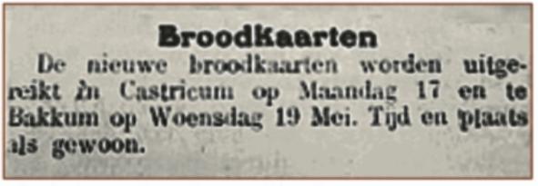 Bekendmaking van de uitreiking van de broodkaarten.