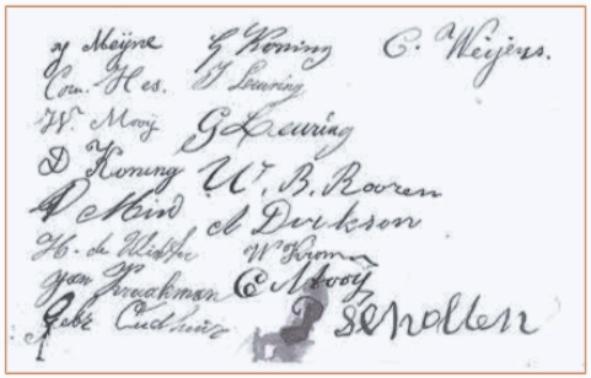 De handtekeningen van de bewoners van Noord-Bakkum.