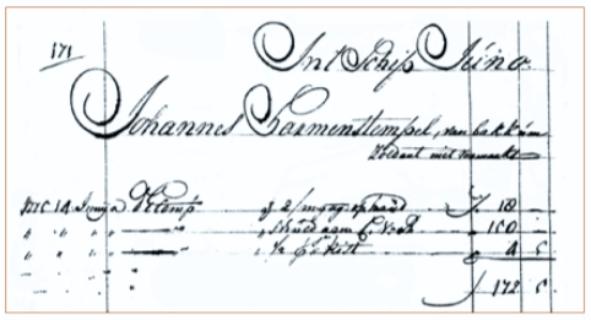 Vermelding van Johannes Harmen Stempel uit Bakkum in het scheepssoldijboek van de Delftse oostindiëvaarder Juno.