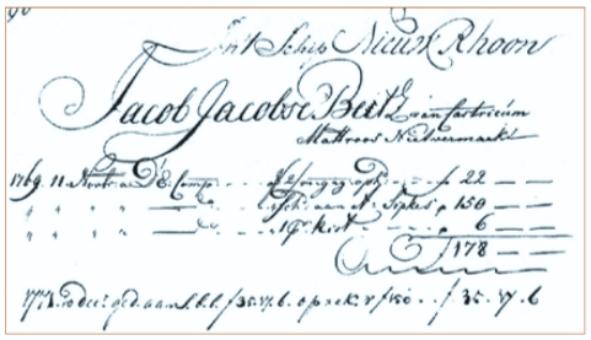 Vermelding van Jacob Jacobse Betz uit Castricum in het scheepssoldijboek van het schip Nieuw Rhoon.