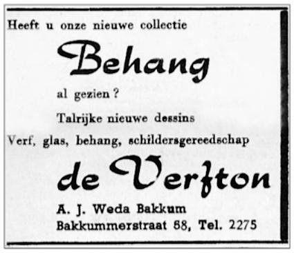 Advertentie van 'De Verfton'.