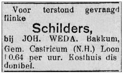 Advertentie in het Nieuwsblad voor Friesland van 16 mei 1930.