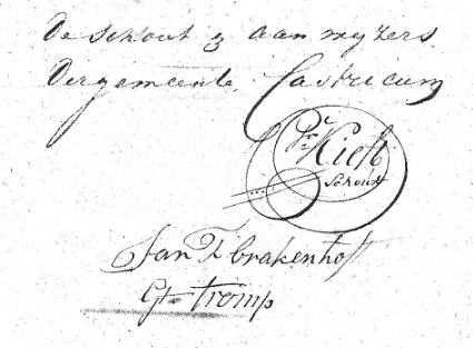 De handtekening van Pieter Kieft en de schepenen Brakenhoff en Tromp onder het document dat de grens tussen de gemeenten Castricum en Egmond-Binnen in 1821 vastlegde.