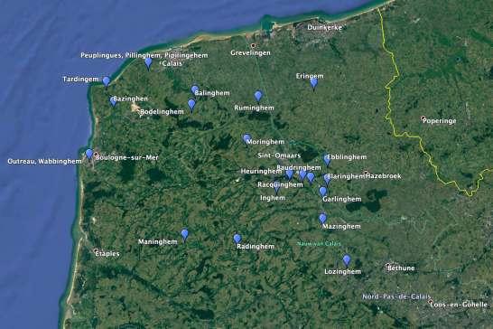 Kaart met Franse inghem-namen.