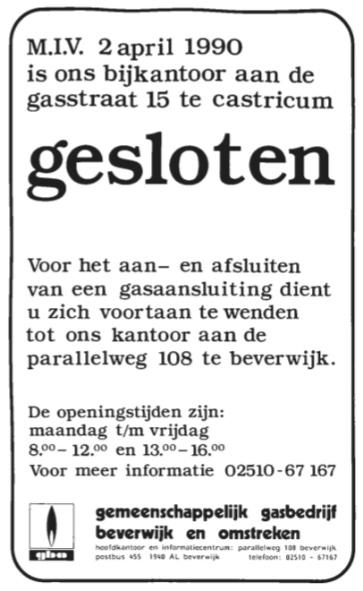 Sluiting van het bijkantoor aan de Gasstraat; hiermee kwam een einde aan het 'gasbedrijf' in Castricum.