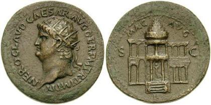 Dupondius (Or) = 2 assen, ca. 2.6-3.0 cm, ca. 10-12 gr,  Keizer draagt stralenkroon