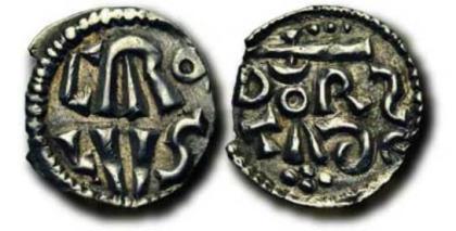 Zilveren denarius van Karel de Grote (ca 771) geslagen te Dorestad