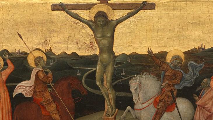 De Kruisiging. Christus aan het kruis in een heuvelachtig landschap. Links de heilige Longinus te paard met speer, rechts van het kruis de hoofdman op een wit paard, zich wendend tot een groep Joden achter hem staand. Links van Longinus Maria met de drie heilige vrouwen, Johannes en Maria Magdalena. ; Giovanni di Paolo (ca. 1403–1482), Siena, ca. 1447, tempera op paneel.