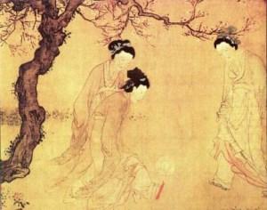 Schilderij van Du Jin uit de Ming-dynastie, waarop te zien is hoe dames in gewaden Cuju spelen