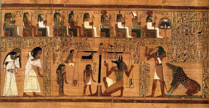 Het wegen van het hart in het Dodenboek van Any (P. BM 10470, ca. 1250 v.C.)