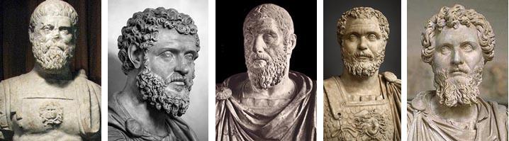 Pertinax, Didius Julianus, Pescennius Niger, Clodius Albinus & Septimius Severus; de 5 keizers uit het vijfkeizerjaar 193