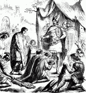 Een 19de eeuwse illustratie van de overdracht van de keizerskroon door Romulus Augustus aan de Germaanse heerser Odoaker