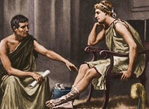 Afbeelding van de lesgevende filosoof Aristoteles aan zijn leerling Alexander de Grote